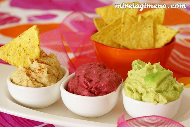 Patés vegetales: hummus, paté de remolacha, y paté de aguacate - receta vegana