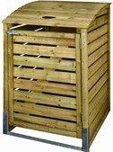 Containerberging kliko ombouw afvalcontainer GFT-bak enkel 240 liter geïmpregneerd grenen en met staalversterkte vuurverzinkte beugel voor extra stabiliteit. Alles inclusief bevestigingsmateriaal, hang- en sluitwerk, FSC gecertificeerd hout uit verantwoord bosbeheer. Eindelijk die lelijke kliko bakken uit het zicht. - 80x122x90cm