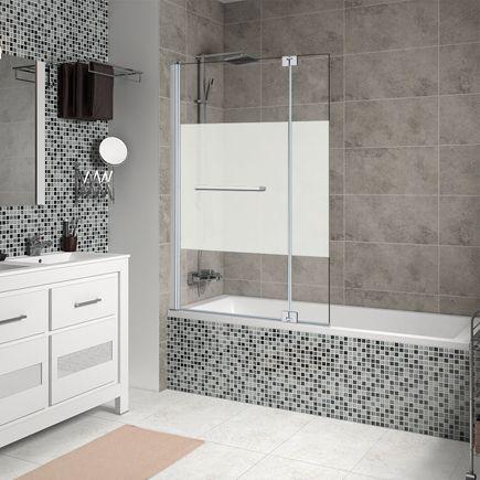 Propuesta mampara para bañera baño 2, con fijo y pestaña abatible de vidrio serigrafiado.