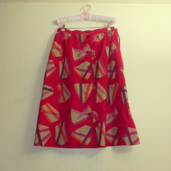1980s Vintage midi skirt new wave 80s skirt by SunDriedTomatoes, $32.00