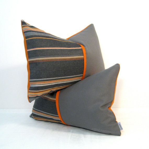 Hey, I found this really awesome Etsy listing at https://www.etsy.com/listing/188098032/grey-orange-pillow-cover-set-two-outdoor
