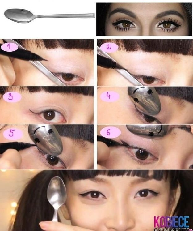 Use a spoon to get the perfect wing shape for your eyeliner.