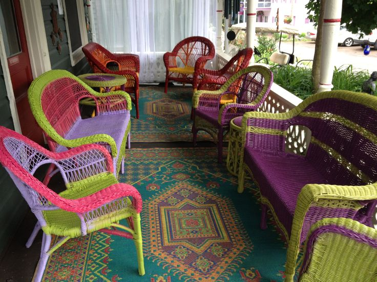 Refurbished Spray Painted Wicker Chairs. Bright Colors. Colorful Porch.