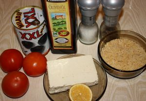 Салат с орзо и брынзой