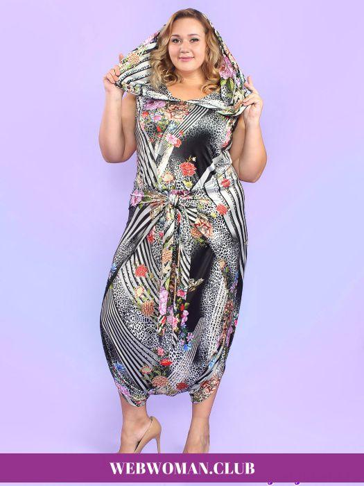 Платье - комбинезон Мессалина Magesty  Повседневные платья для полных, сарафаны, платья-туники, комбинезоны. Платье - комбинезон Мессалина Magesty