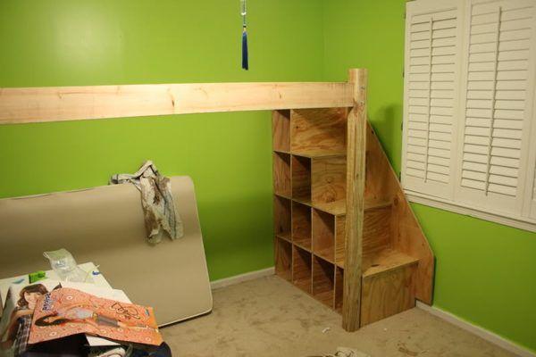 Loft bed storage space.