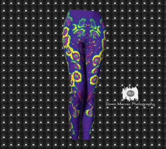 Purple Leggings Funky Floral Art Tights Artsy by DawnMercerPhoto