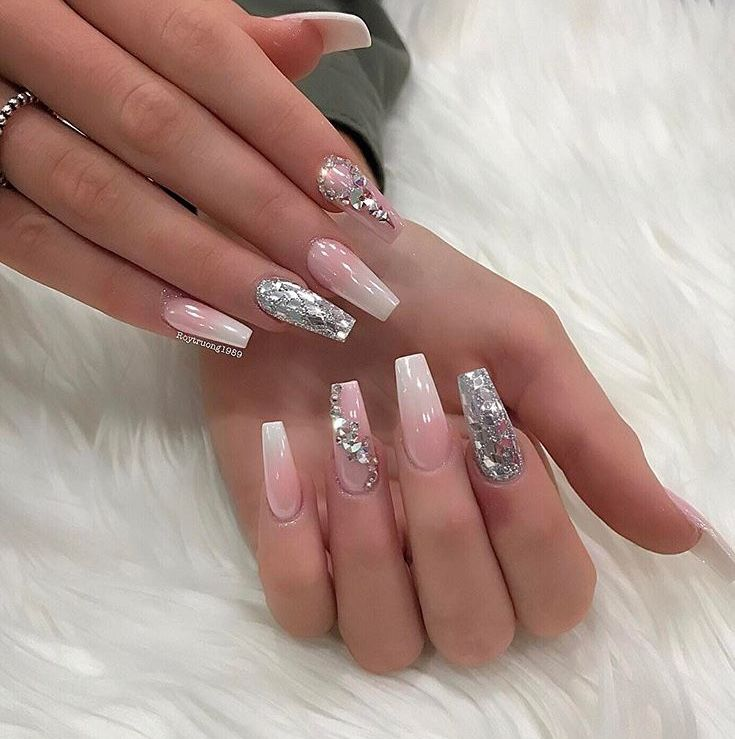 ombre coffin glitter diamonds nails in 2019