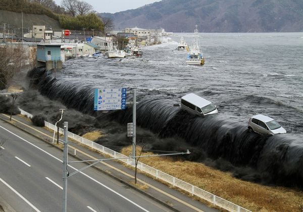 A year ago this week, a tsunami wave crashes over a seawall in the city of Miyako, Japan, shortly after a devastating magnitude 9.0 earthquake struck the region.
