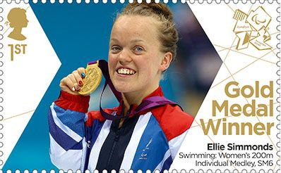 Paralympics Team GB Gold Medal Winners 1st Stamp (2012) Swimming: Women's 200m Individual Medley, SM6 - Paralympics Team GB Gold Medal Winners