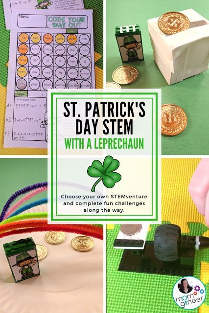 St. Patrick's Day STEM Activities with a Leprechaun for Elementary Students. Go on a STEM adventure with Larry the leprechaun and earn gold coins by completing the challenges. - Meredith Anderson Momgineer