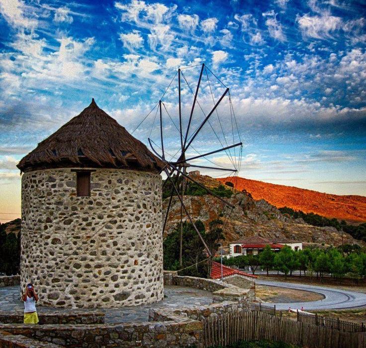 Windmill in Lemnos island #Greece