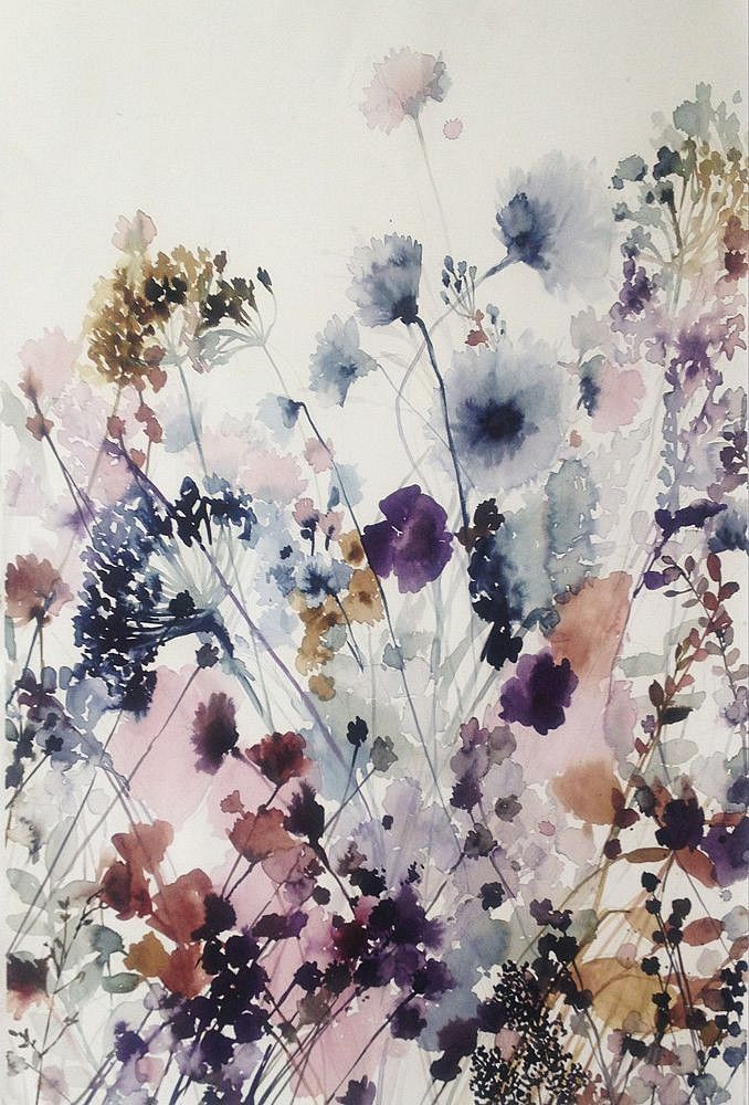 Lourdes Sanchez, untitled flowers ii, Sears Peyton Gallery, wash, watercolor, flowers