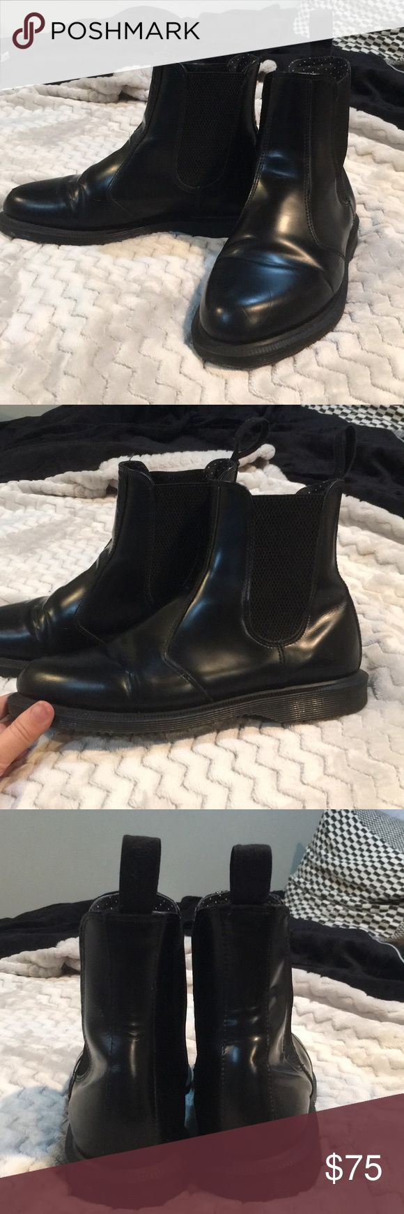 Doc Martens Chelsea Boot Best brand, cutest style. A little broken in (which makes them comfortable) but great condition. Very little flaws (except small flaw shown in pictures on front of one boot). Polka Dot pattern on inside Doc Martens Shoes Ankle Boots & Booties