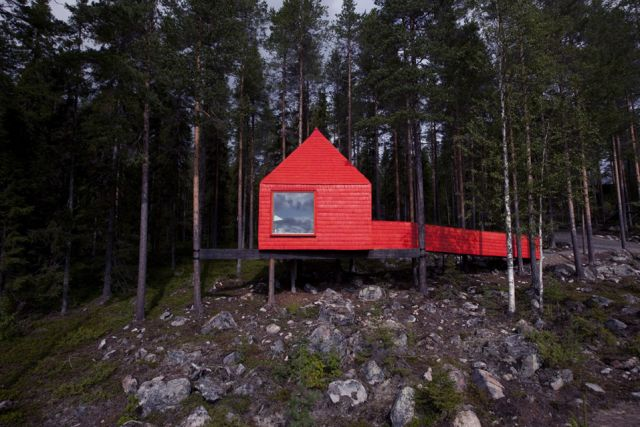 The Little Red Treehouse: Forests, Treehouse Hotels, Sweden, Wood, Trees Houses, Cabins, Blue Cones, Red Houses, Contemporary Design