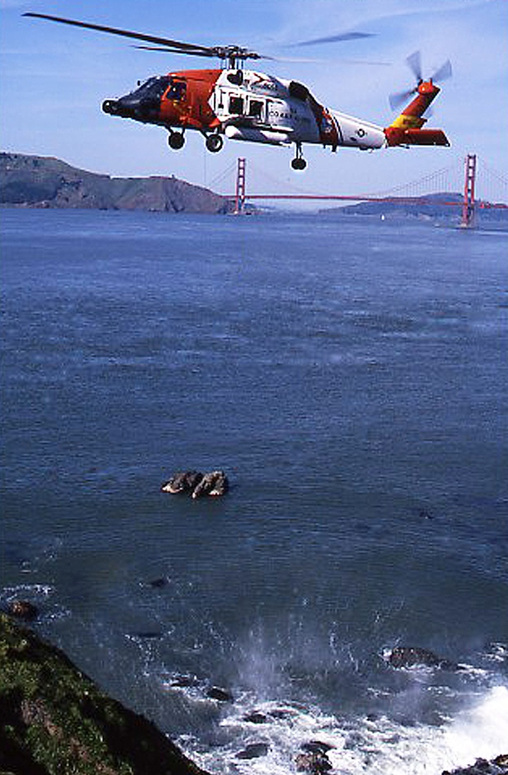 Coast Guard HH-60 near Mile Rock just West of the Golden Gate Bridge early 90's. This was before the 60's were modified to MH status.