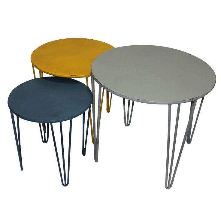 Tables gigognes rondes en métal Gris Jaune Bleu (Lot de 3) SPLIT port offert