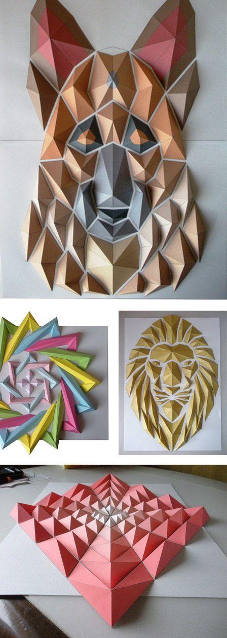 Gli origami mosaico di Kota Hiratsuka..bello il gioco di luce e ombre, voglio provare a fare il mio cane come il leone,