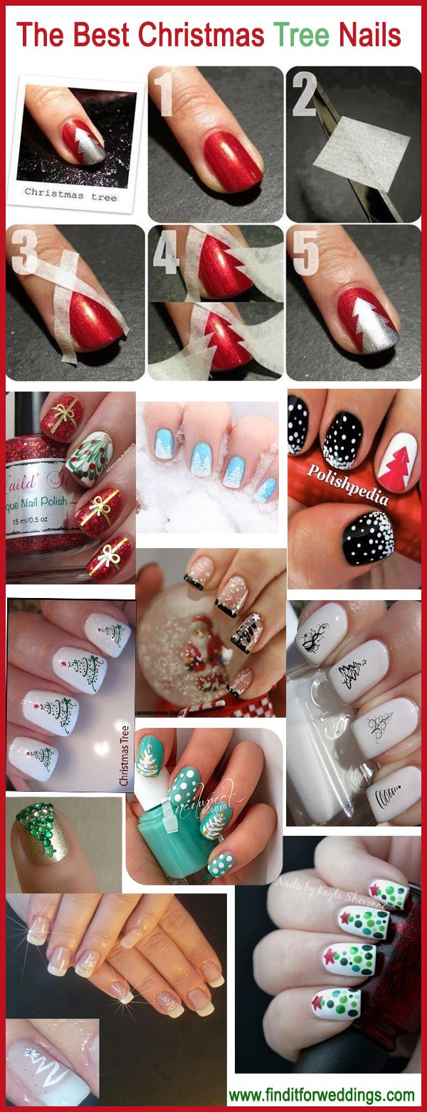 The best Christmas tree nails www.finditforweddings.com  nail art designs