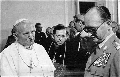 June 17, 1983: The pope spoke with Polish Premier Wojciech Jaruzelski at Belvedere Palace. Jaruzelski was the Communist leader of Poland who imposed martial law to counter opposition from labor unions. The pope traveled to his home country to support a revolt against communism and movement for democracy led by Lech Walesa.