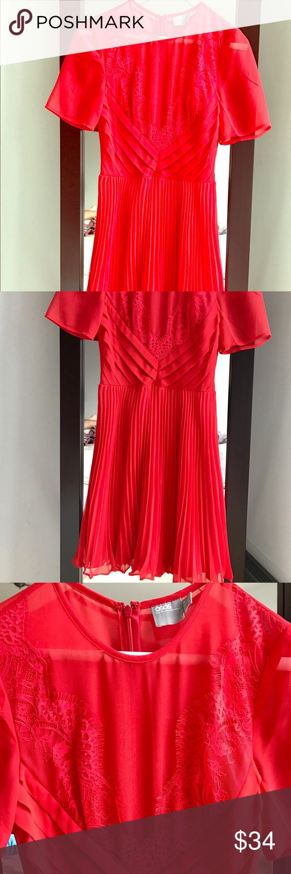 """Lace and Pleat skater mini red dress. ASOS Petite Super glam red dress with laces details. ASOS Petite size US 0. For girl 5"""" tall this dress lands above the knees with a nice fluffy effect. New, never worn. ASOS Petite Dresses Midi"""
