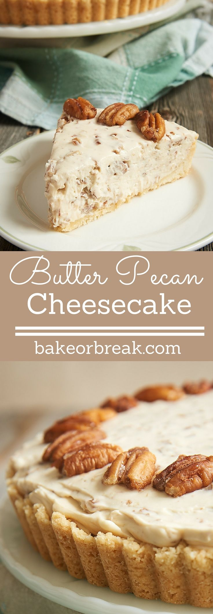 If butter pecan is your favorite ice cream, then this Butter Pecan Cheesecake may very well be your favorite cheesecake! It's filled with buttery, toasty pecans, and it is absolutely fantastic! - Bake or Break ~ http://www.bakeorbreak.com