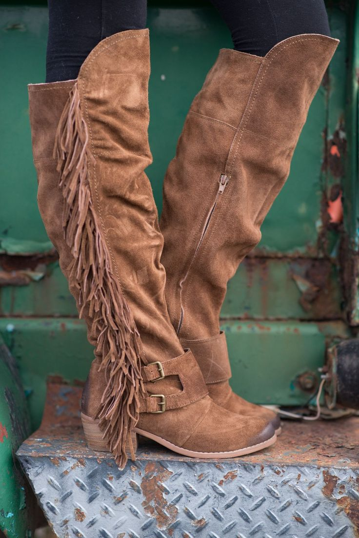 Fearlessly Free Knee High Suede Fringe Boots-TAN - NanaMacsBoutique  - 1