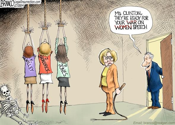 Hillary Clinton Wages War on Women | A.F.Branco | Political Cartoon