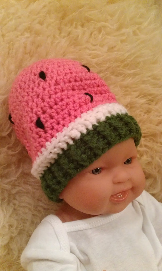 Crochet Whimsical Watermelon Hat for Boy or by ConnMorCreations, $17.00