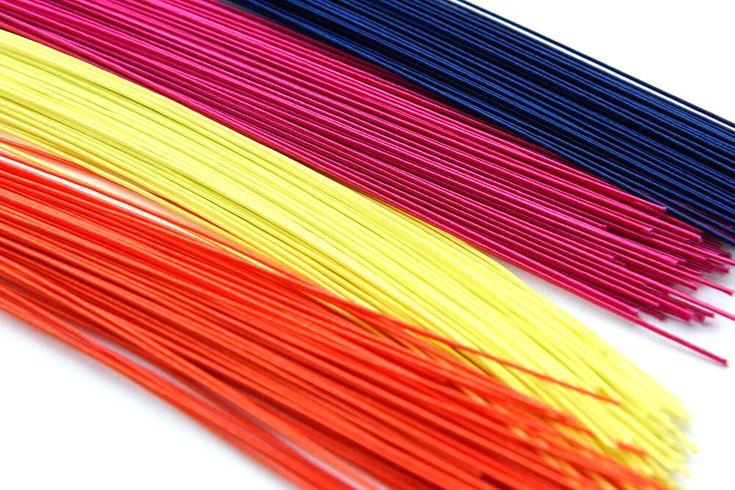 """""""Mizuhiki"""" thin lengths of twisted Washi hardened with glue."""