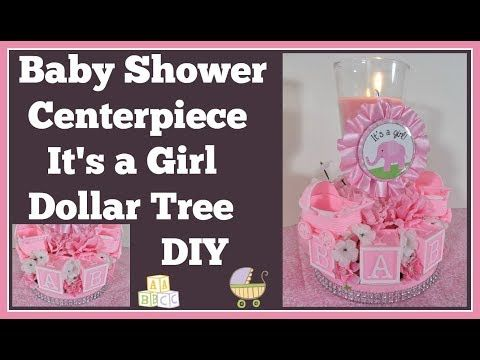 baby shower centerpiece dollar tree diy girls youtube rh pinterest com Fall Baby Shower Centerpieces Baseball Baby Shower Centerpieces
