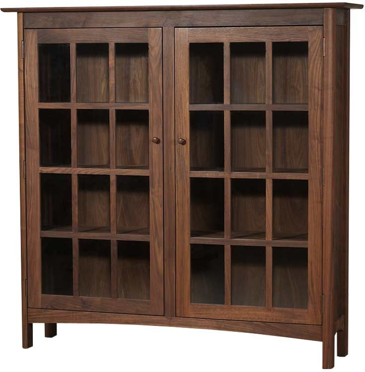 Modern Shaker 2-Glass Door Bookcase shown in natural walnut wood. Vermont  hand crafted