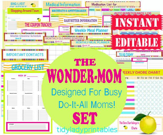 Printable Organizer Sheets - Home Management Binder - Mom Planner -INSTANT and EDITABLE Download - 27 Documents. Keep your house, kids, worklife and self in order! Be efficient and organized to enjoy life to the fullest!!