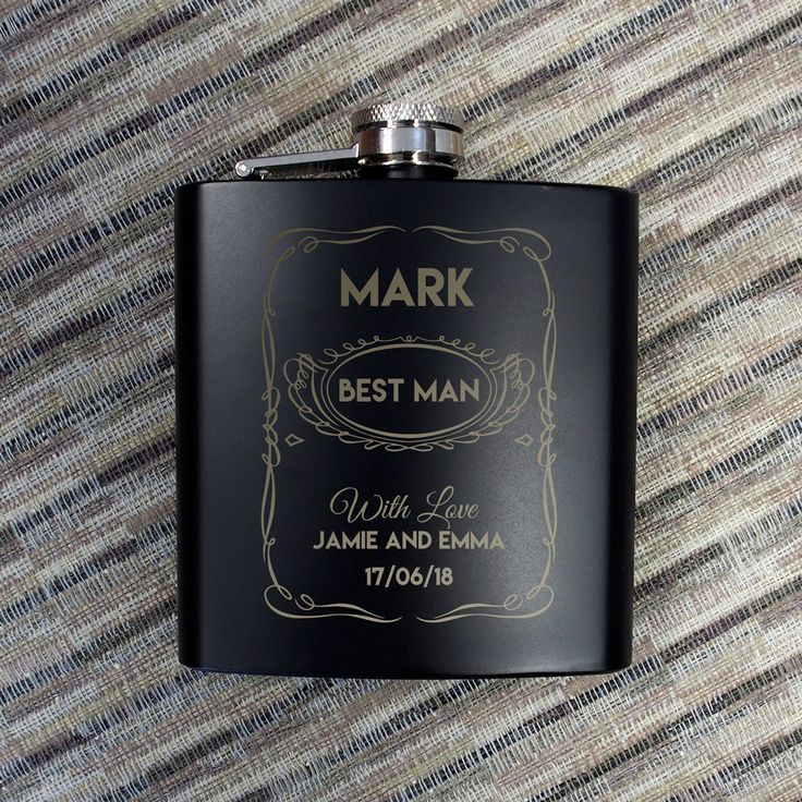 Personalised Hip Flask 6oz Matt Black