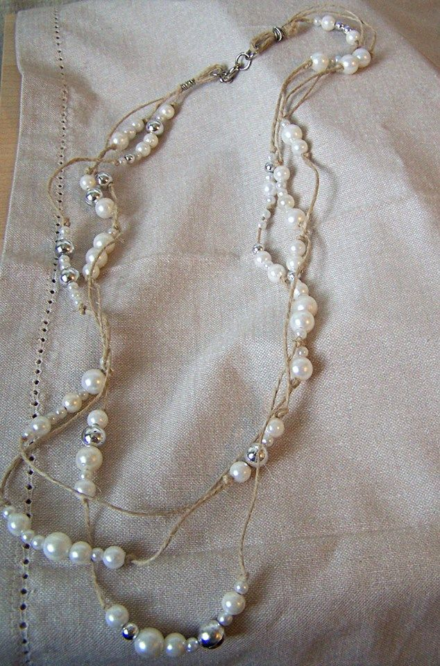 Pi necklace with knotted twine and faux pearls. Casual and beachy!