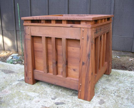 Mission Style Redwood Planter Craftsman by MidCenturyWoodShop