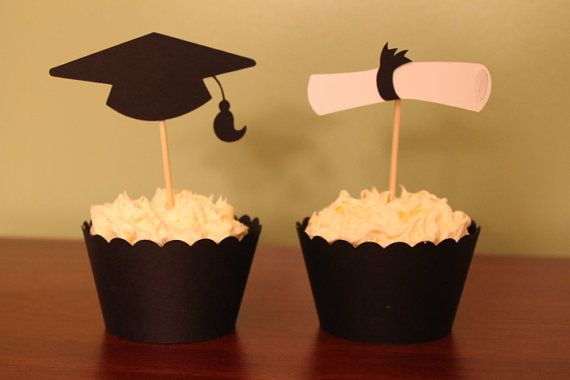 Graduation Cupcake Liners AND Toppers  Set of 12 by CreatedToPlay, $8.00