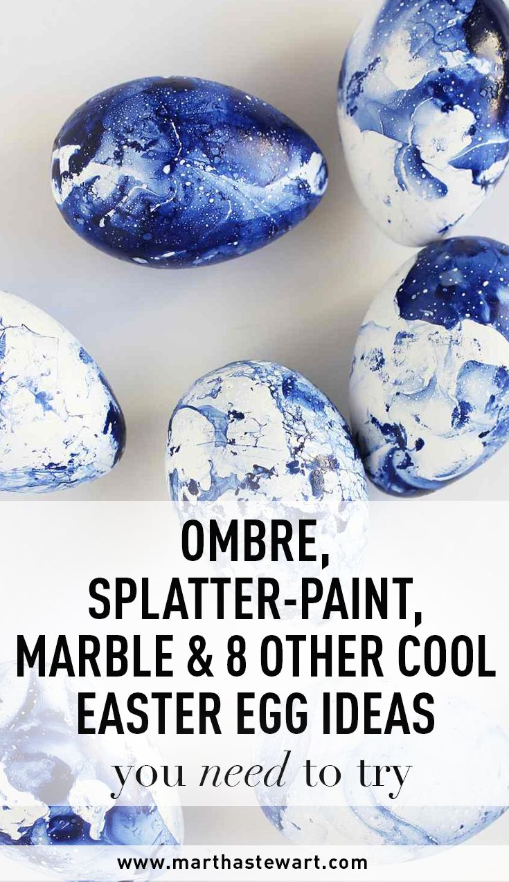 Ombre, Splatter-Paint, Marble & 8 Other Cool Easter Egg Ideas You Need to Try | Martha Stewart Living - Forget the traditional dye, these 11 cool Easter egg decorating techniques open up an entirely new set of crafting possibilities! Utilizing materials ranging from spray paint, to artificial flowers, to vinyl letters, these cool easter eggs are worth trying out for yourself.