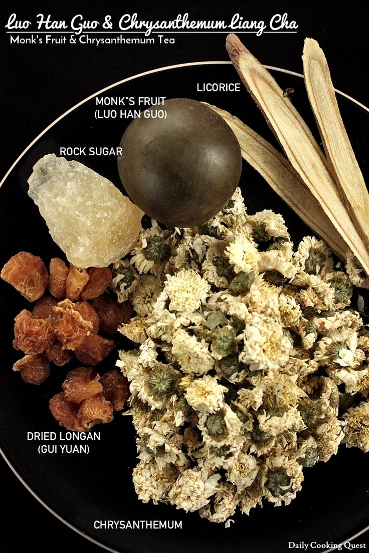 Ingredients for Luo Han Guo and Chrysanthemum Liang Cha – Monks' Fruit and Chrysanthemum Tea