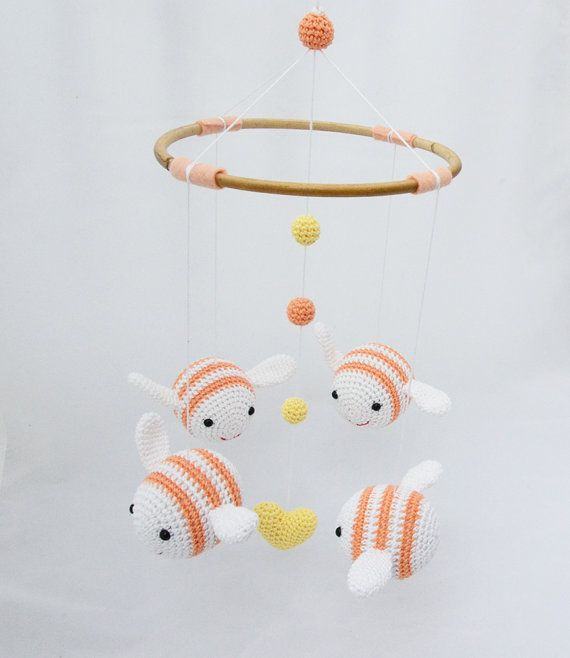Baby Mobile Shower Gift Bumble Bee Nursery Decor Apricot