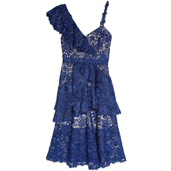 alice + olivia Florrie Ruffle Midi Dress (13,140 MXN) ❤ liked on Polyvore featuring dresses, blue midi dress, blue lace cocktail dress, ruffle dress, blue polka dot dresses and blue lace dresses