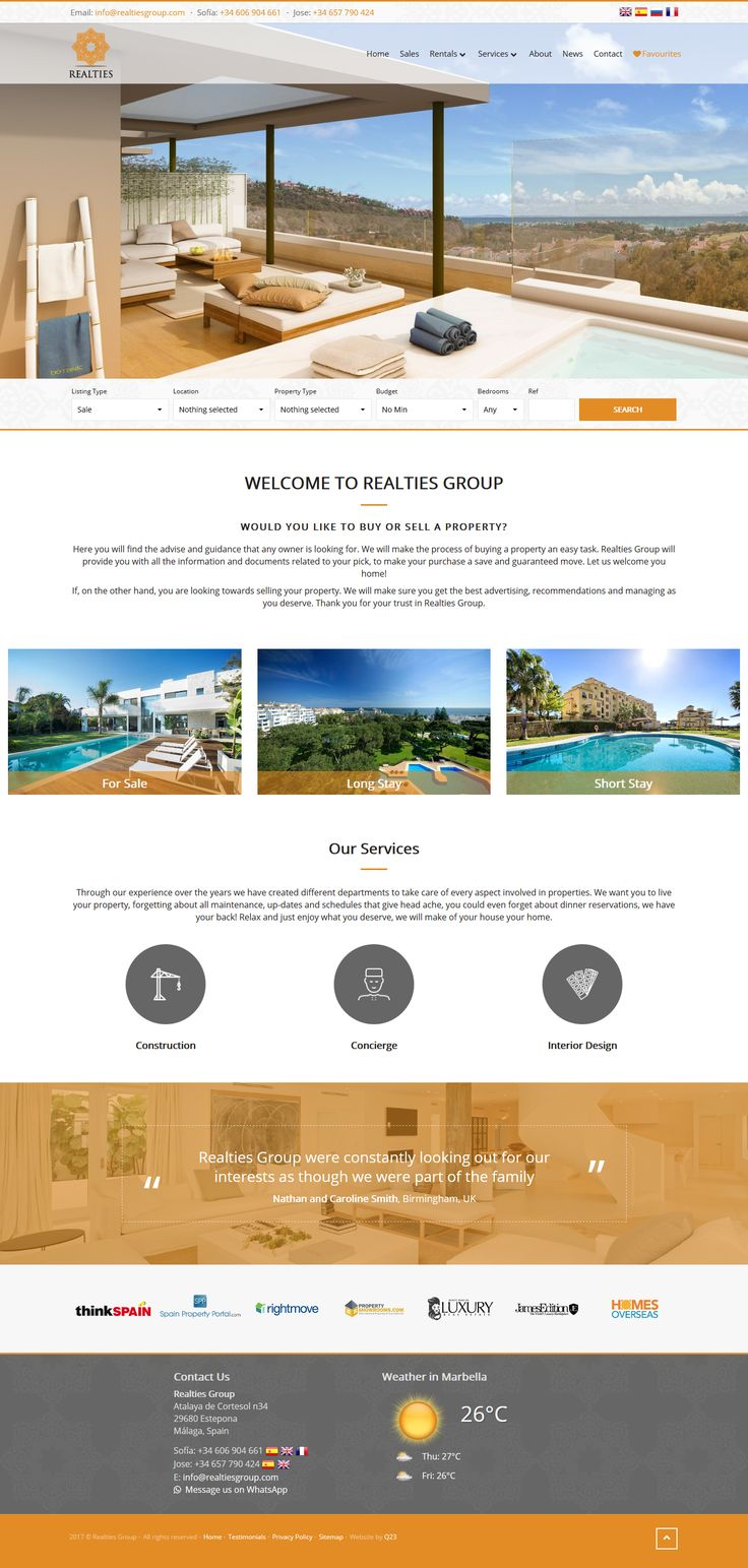 Realties Group are a Real Estate agent based in Estepona on the Costa del Sol.  Offering Construction, Concierge and Interior Design services. #qresod #estepona #realestate #resalesonline