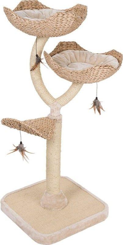 Een droom van een krabpaal voor uw kat en een bijzondere highlight in uw woning! De in een buitengewone bloemenvorm natuurlijk ontworpen krabpaal is optisch een blikvanger, en tevens extreem stabiel. De reden hiervoor is, dat de aan de buitenkant, niet zichtbare, sisal-omwikkelde, metalen stam het geraamte van de krabpaal vormt en de krabpaal Cat's Flower tot een zeer robuuste krabpaal maakt. Het op het bovenvlak van de bijzonder dikke onderplaat aangebrachte natuursisal dient als krabmat en…