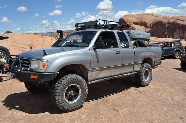 2016 Toyota Tacoma Lifted >> Love seeing a built #Toyota #t100 on the trails here at #Moab. #lifted #rack #bumper #winch # ...