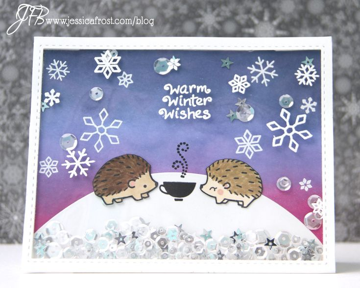 Lawn Fawn - Hedgehugs, Critters in the Snow, Critters in the Arctic, Love You a Latte, Winter Fox _ colorful shaker card by Jessica at All the Sparkle
