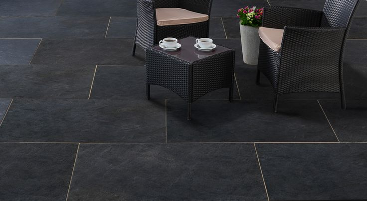 Pavestone Dolomite Dark Black porcelain outdoor paving slabs. Ideal for patios or covered verandas.  #black #porcelain #paving