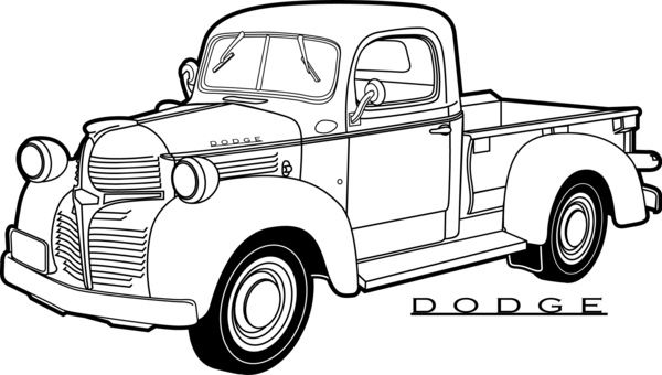 coloring pages cars antiques | line drawing old dodge pickup truck - Google Search ...