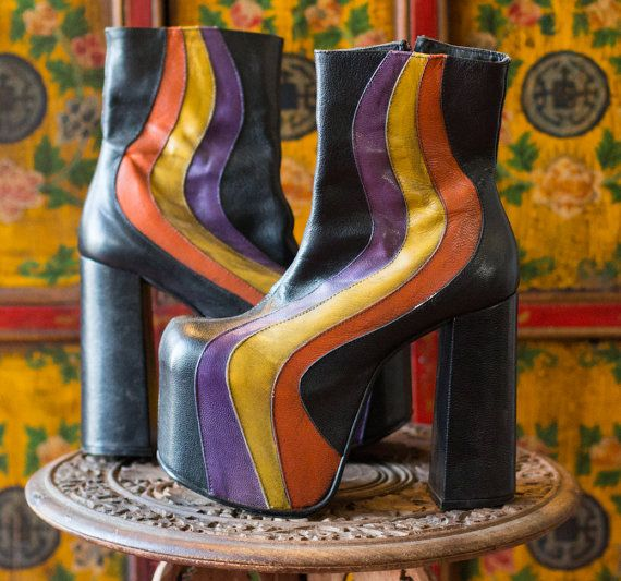 70's Style Glam Rock Disco Soul Train. Soul Train and glam rock platform shoes are the definition of the 1970s.