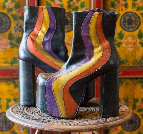 70's Style Glam Rock Disco Soul Train Velvet Goldmine Platform Ankle Boots…♫♫♥♥♫♥♫♫♥JML
