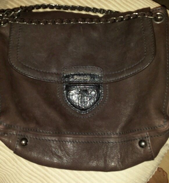prada bag for man - Authentic Prada handbag brown leather w/crocodile skin snap chain ...